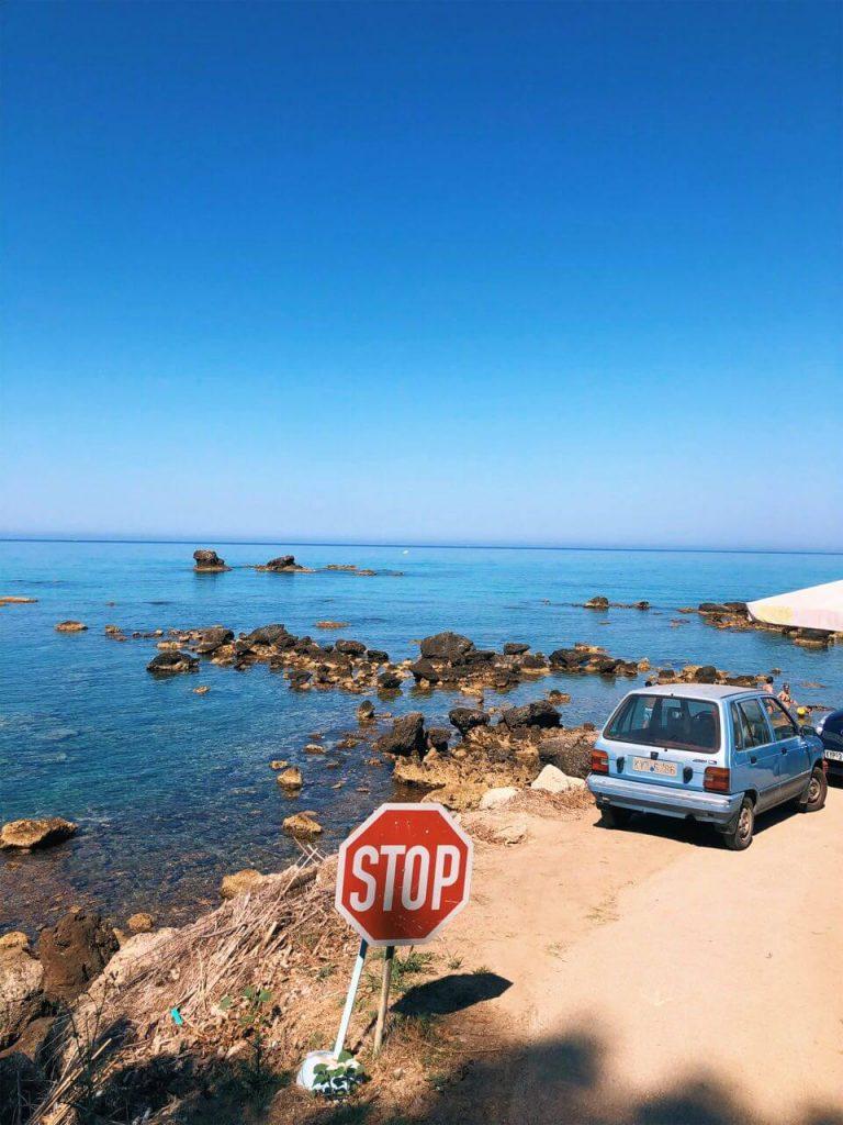 car parked at Kontogialos beach
