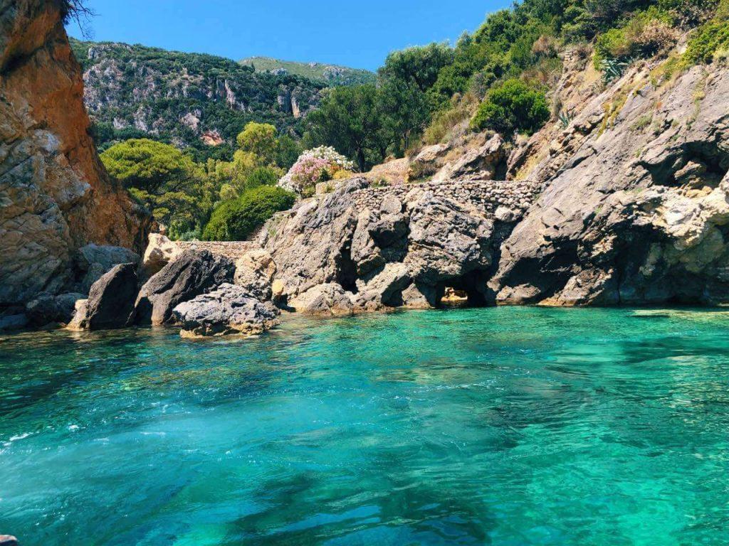 Amazing blue waters on boat trip Paleokastritsa