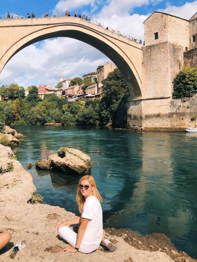Woman at Stari Most in Mostar