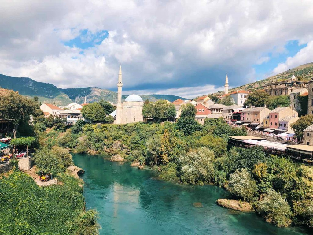 Beautiful view over Mostar from Stari Most
