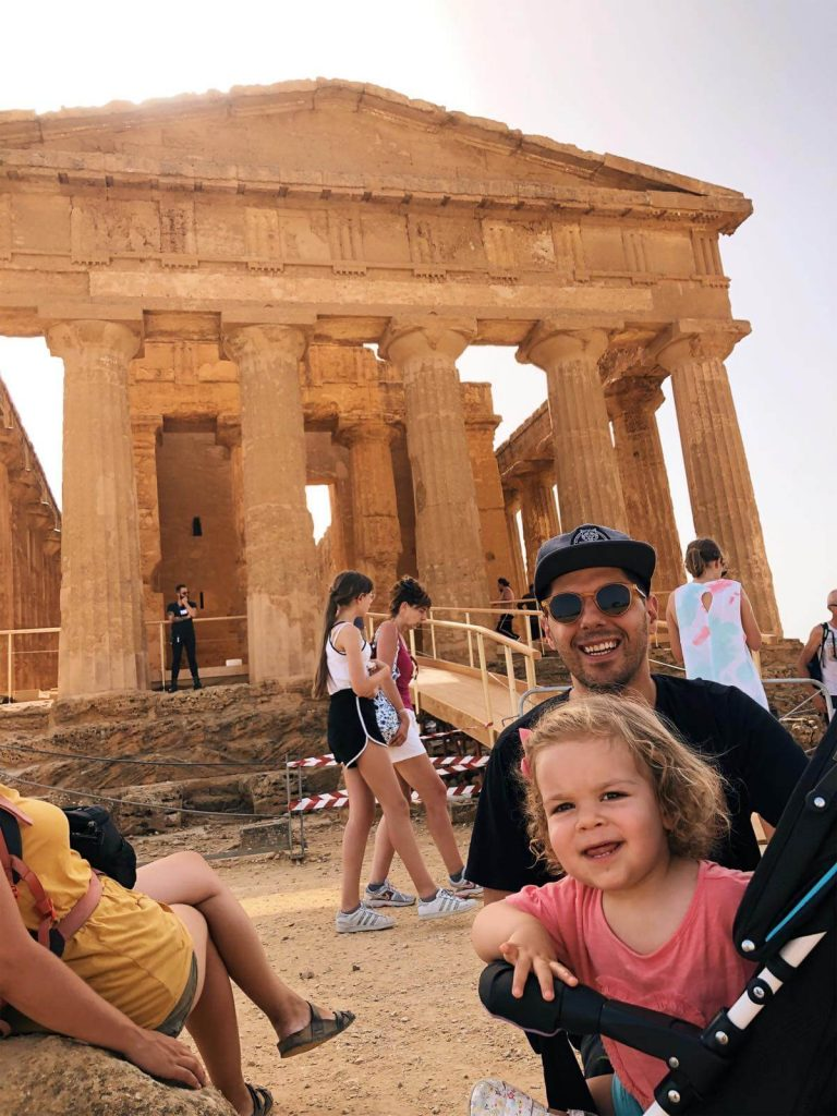 Anna and daddy in front of the Temple of Concordia