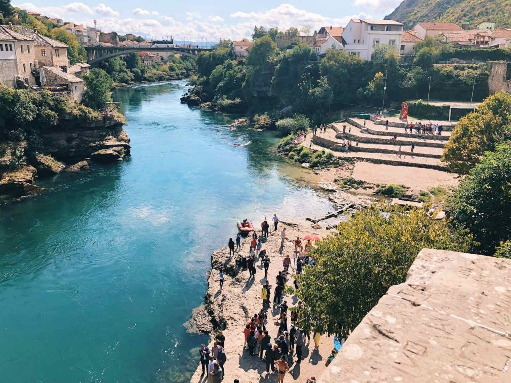 View from the bridge in Mostar