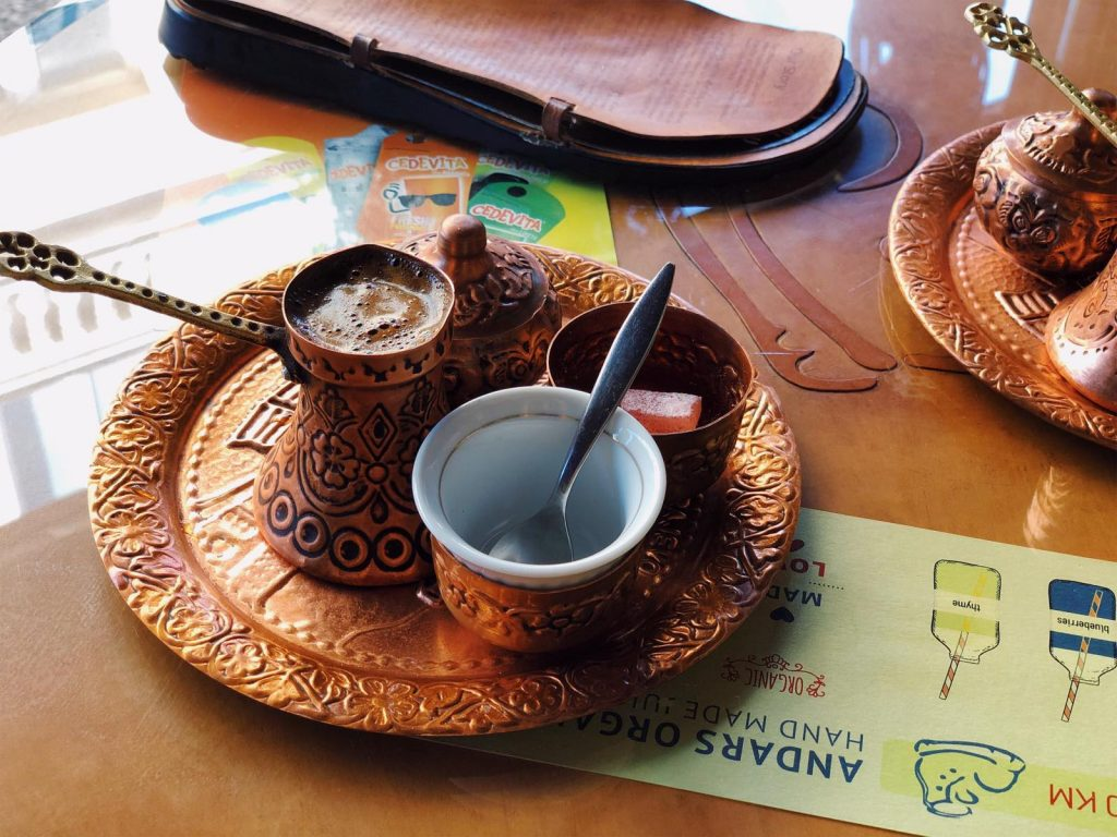The Bosnian coffee is served in a charming way