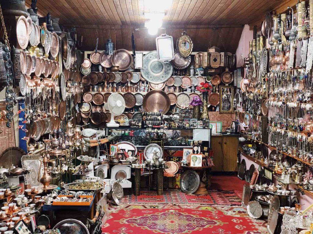 Authentic souvenir shops in Baščaršija, the old bazaar in Sarajevo
