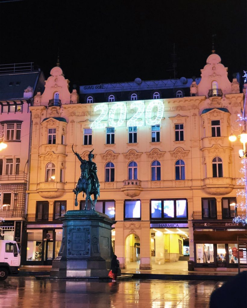 Ban Jelačić Square on a rainy evening