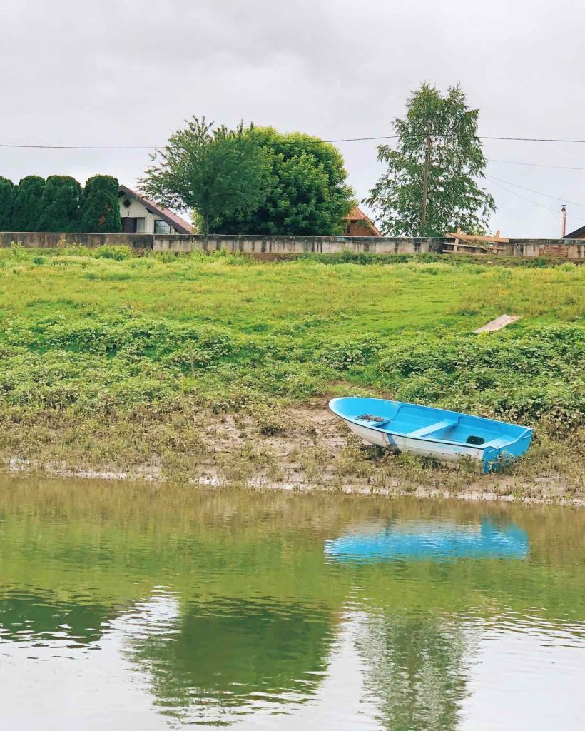 A lonely boat on Sava River